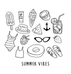 Hand drawn ink summer objects vector