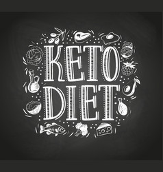 hand drawn text keto diet with foods blackboard vector image
