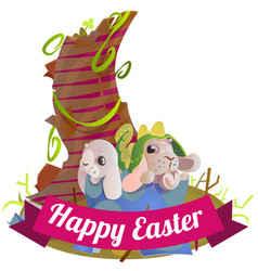 happy and cute easter bunny sitting in basket vector image