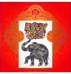 Happy Holi design with elephant on floral indian vector