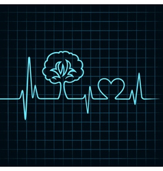 heartbeat make a tree and heart symbol vector image