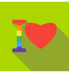 I love in rainbow colors icon flat style vector image
