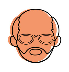 isolated old man face vector image