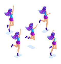 Isometrics of the girlfriends jumps has fun rejo vector