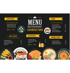 Japanese food menu restaurant brochure design vector