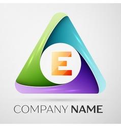 Letter E logo symbol in the colorful triangle vector