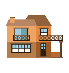 light color silhouette of facade house with two vector image