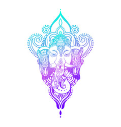 Lord ganesha head with lotus drawing - indian vector