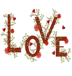 love with hearts and flowers vector image vector image