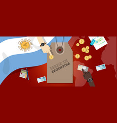 made in argentina price tag badge vector image