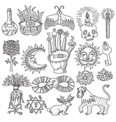 Magic tattoo set vector