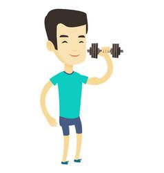 Man lifting dumbbell vector
