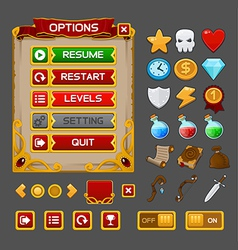 Medieval game GUI pack 3 vector image