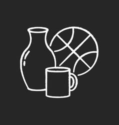 Miscellaneous chalk white icon on black background vector