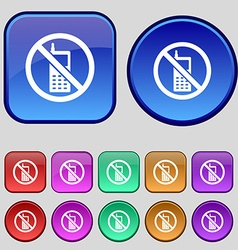 mobile phone is prohibited icon sign A set of vector image