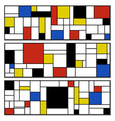 Mondrian style banner ad poster card set vector