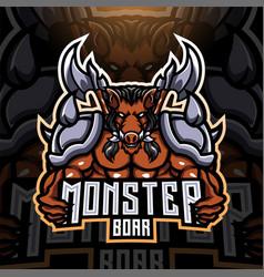 Monster boar esport mascot logo design vector