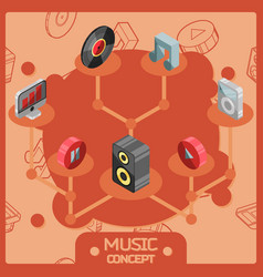 Music color isometric concept icons vector