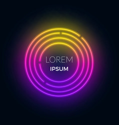 neon futuristic round frame for text can be used vector image
