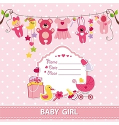 New born bagirl card shower invitation template vector