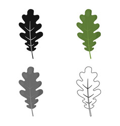 oak leaf icon in cartoon style for web vector image