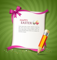 Paper card and pencil of the happy easter eggs vector