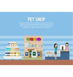 Pet store or shop interior with woman shopping vector