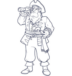 pirate with telescope vector image
