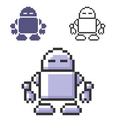 Pixel icon robot in three variants fully vector