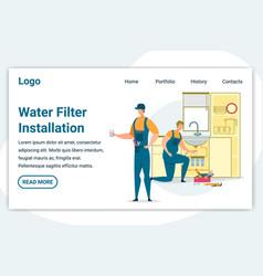 Plumbers make water filter installation on kitchen vector