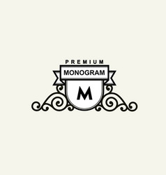 premium monogram template for your emblems logos vector image