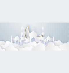 Ramadan kareem 2020 background paper cut vector