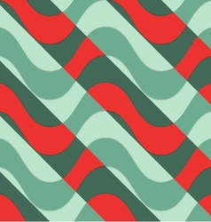 Retro 3D red waves with green parts vector image