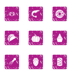 river food icons set grunge style vector image