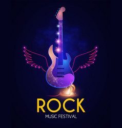 rock festival design template with shining guitar vector image