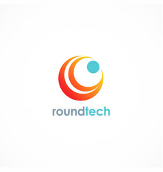 round technology logo vector image