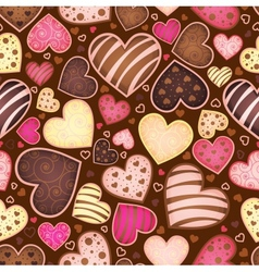 Seamless chocolate pattern with sweetmeat heart vector