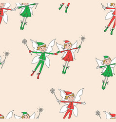 Seamless pattern of the flying cheerful elves vector