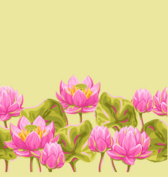 seamless pattern with lotus flowers water lily vector image
