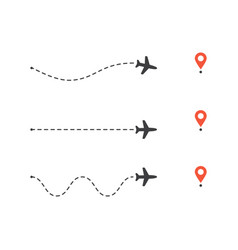 set airplane path to location pin plane route vector image