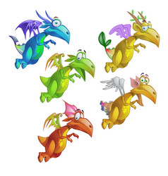 set of funny animated colorful dragon isolated on vector image