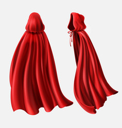 set of red cloaks flowing silk fabrics vector image