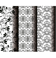 set victorian and floral monochrome backgrounds vector image