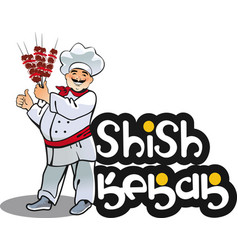 shish kebab cook east kitchen character vector image