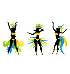 Show girls with brazilian style carnival costumes vector
