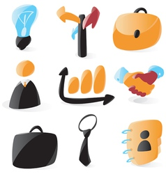 Smooth business icons vector image