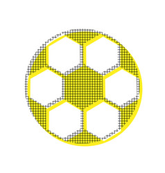 soccer ball sign yellow icon with square vector image