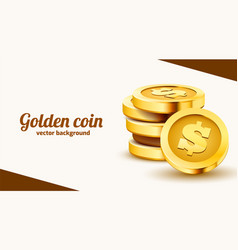 stack golden dollar coins isolated on white vector image