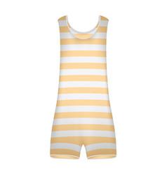 Striped retro swimsuit in orange and white design vector