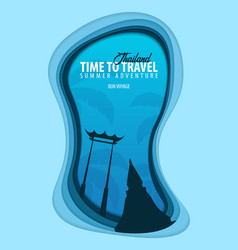 Thailand banner time to travel paper cut and vector